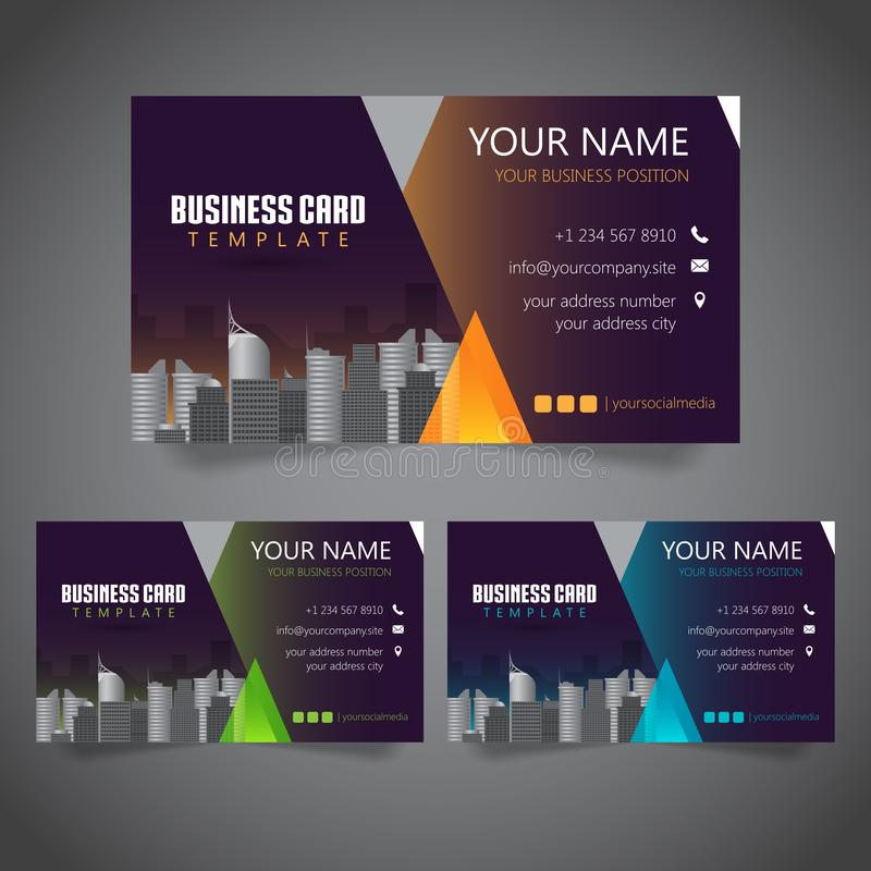 Modern Corporate Business Card with 3 Alternate Colors and Vectorized Buildings stock illustration