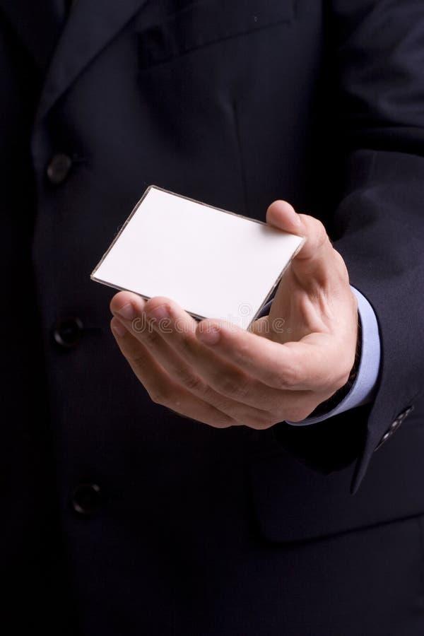 businesscard biznesmena ręki ofiara fotografia stock