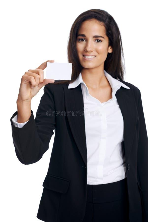 Download Businesscard de sourire image stock. Image du fille, corporate - 45370455