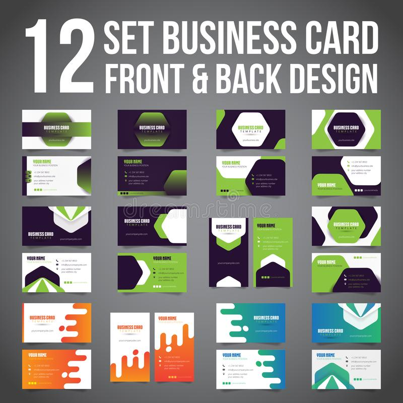 Bundle of 12 Set Business Card Simple Minimalist Front dan Back. Vector Template. royalty free illustration
