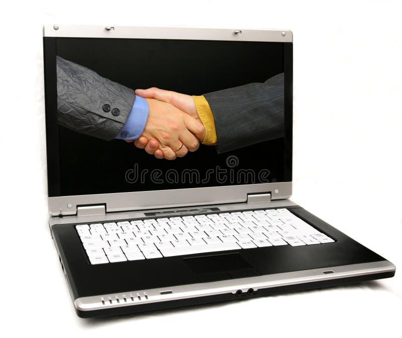 Businessdeal über Web lizenzfreie stockfotos