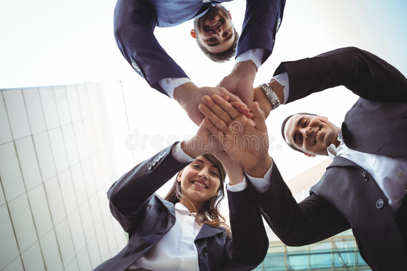 Businesses executives forming a hand stack royalty free stock photography