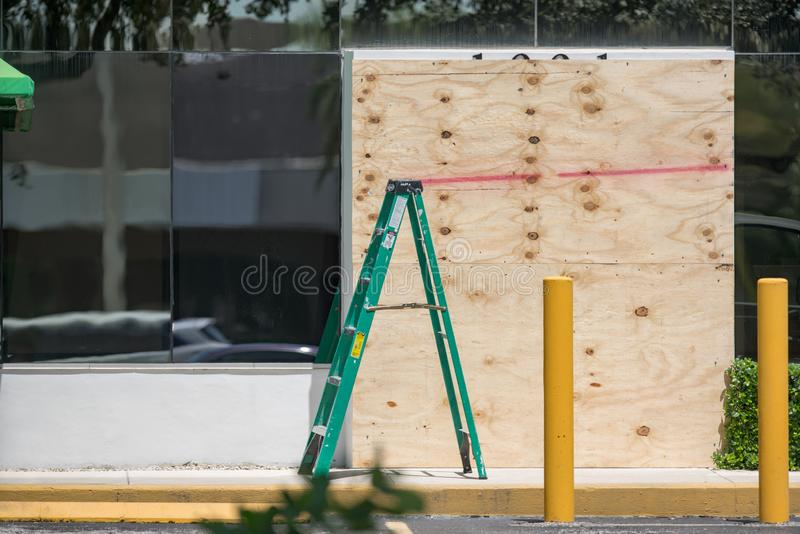 Businesses preparing for Hurricane Dorian South Florida. USA stock images