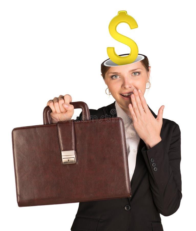 Businesslady με το σημάδι δολαρίων στοκ φωτογραφία