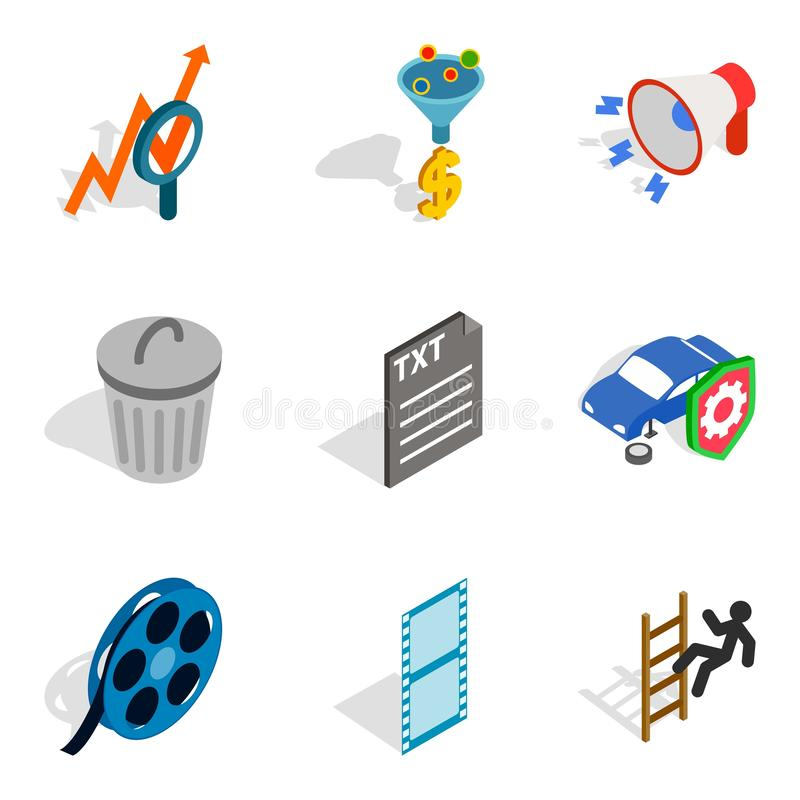 Businesslike approach icons set, isometric style. Businesslike approach icons set. Isometric set of 9 businesslike approach icons for web isolated on white royalty free illustration