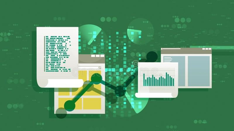 Abstract Files and Docs Flat Illustration. Businesslike 3d rendering of files and documents with a line chart, bar chart, histogram, some text and several files vector illustration
