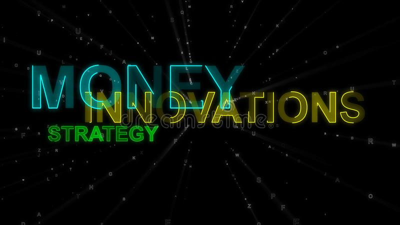Innovation, Money, Strategy as Concept Words. A businesslike 3d rendering of such concept words as innovation, money and strategy. They are blue, yellow and stock illustration