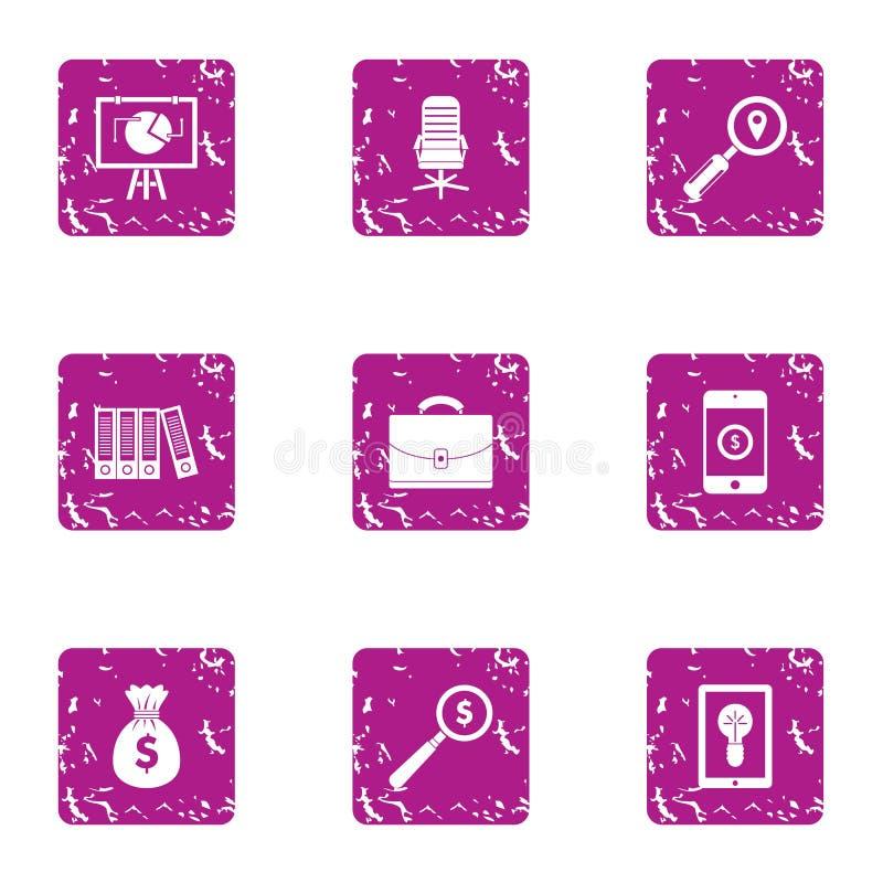 Businesslike icons set, grunge style. Businesslike icons set. Grunge set of 9 businesslike vector icons for web isolated on white background royalty free illustration