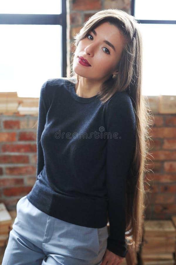Businesslike woman. Posing on a brick wall background stock image