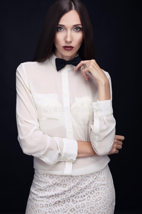 Businesslike woman. With dark hair stock image