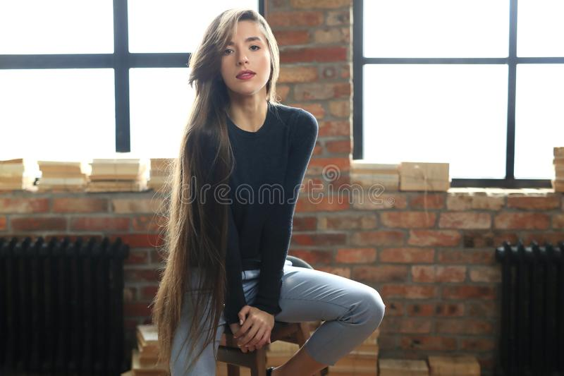 Businesslike woman. Posing on a brick wall background royalty free stock images
