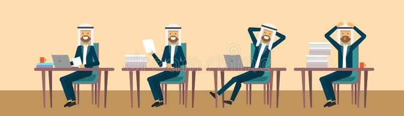 Businessmaman árabe que senta-se na mesa de escritório em poses diferentes, conceito de trabalho duro do processo do homem de neg ilustração royalty free