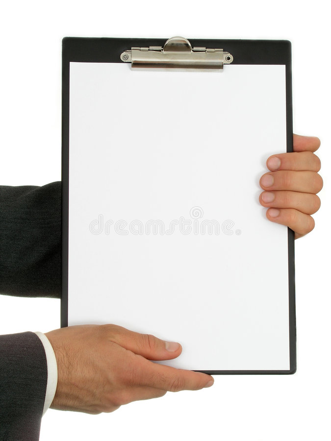 Businessman's Hands Holding Clipboard. Blank place stock photography