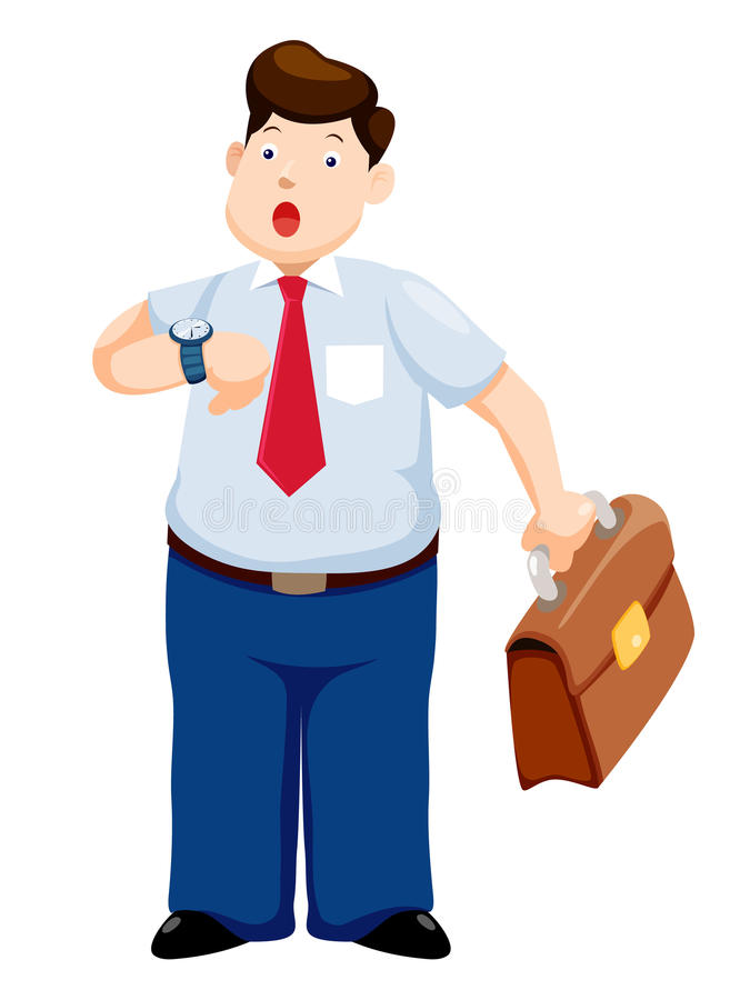 Businessman. Business man is late watching time stock illustration