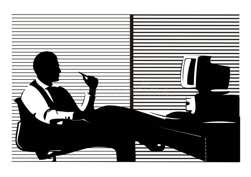 Businessman. In the office sitting near computer royalty free illustration