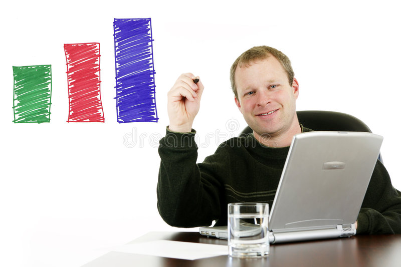 Businessman. Working in his office stock photography
