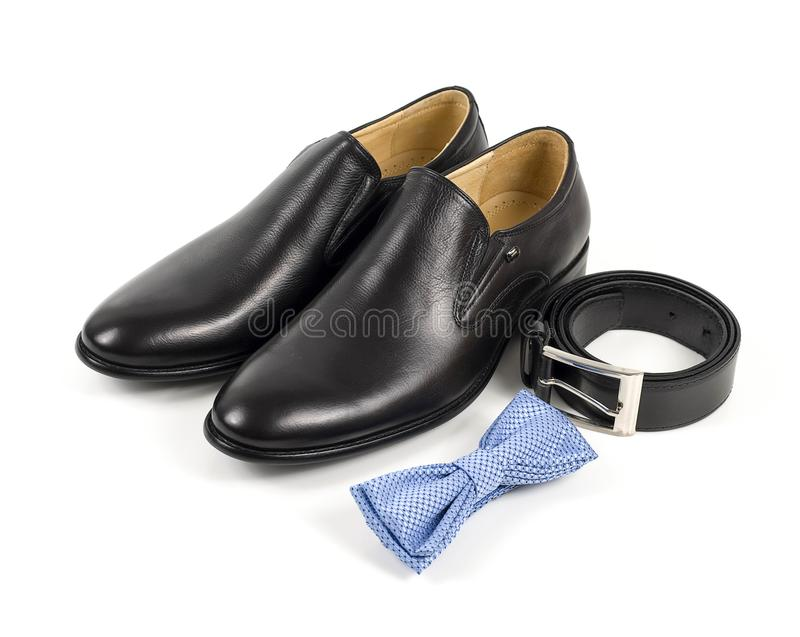 Businessman accessories. Men`s style. Men`s Accessories : Men`s butterfly, Men`s shoes on white background. Set groom Butterfl royalty free stock photography