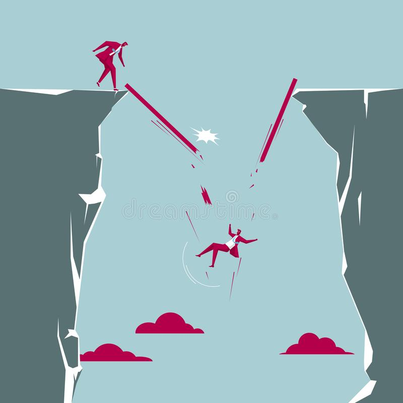 The businessman accidentally fell off the cliff. Isolated on blue background vector illustration
