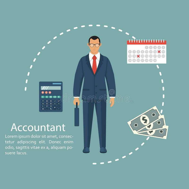 Businessman accountant. Concept of calculation and accounting. Vector illustration in flat design. Man working with reports, finan. Ces, statistical, calculation stock illustration