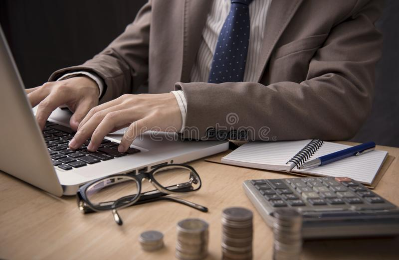 Businessman accountant working on desk office. concept marketing royalty free stock photos