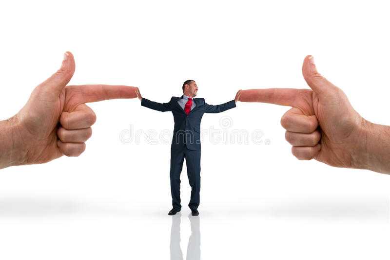 Businessman accusation concept. Pointing fingers on white background stock image