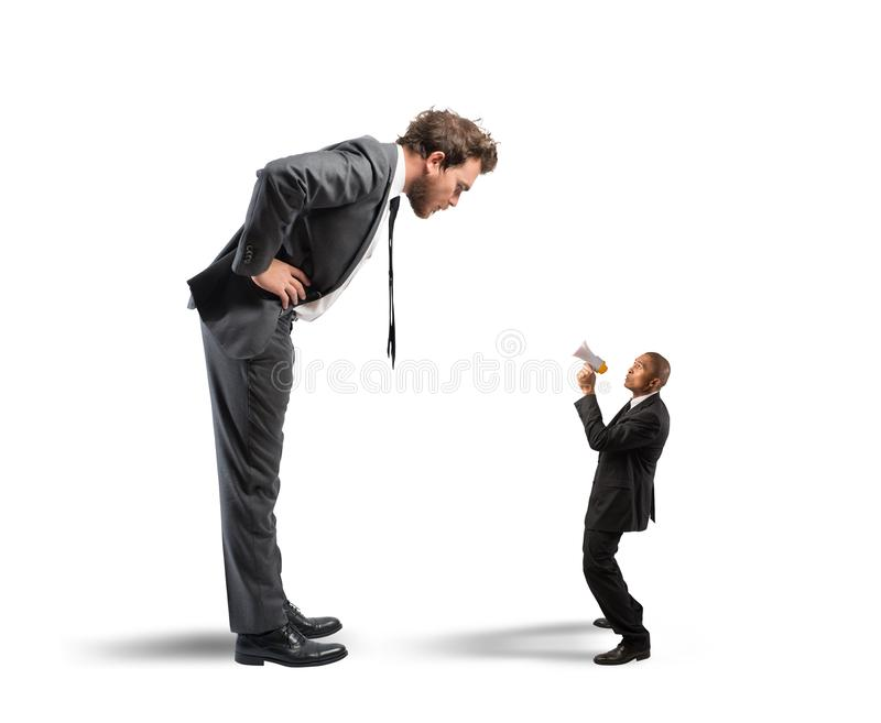 Businessman accused. Executive businessman accuses one of his employees royalty free stock photos