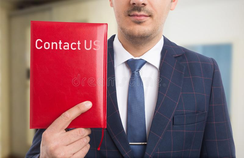 Businessman advertising communication services stock photography