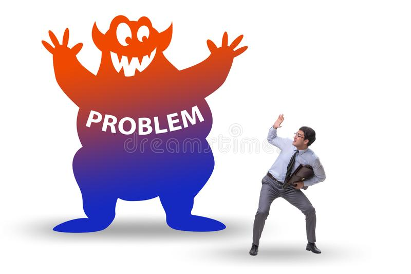 Businessman afraid of big problem royalty free stock images