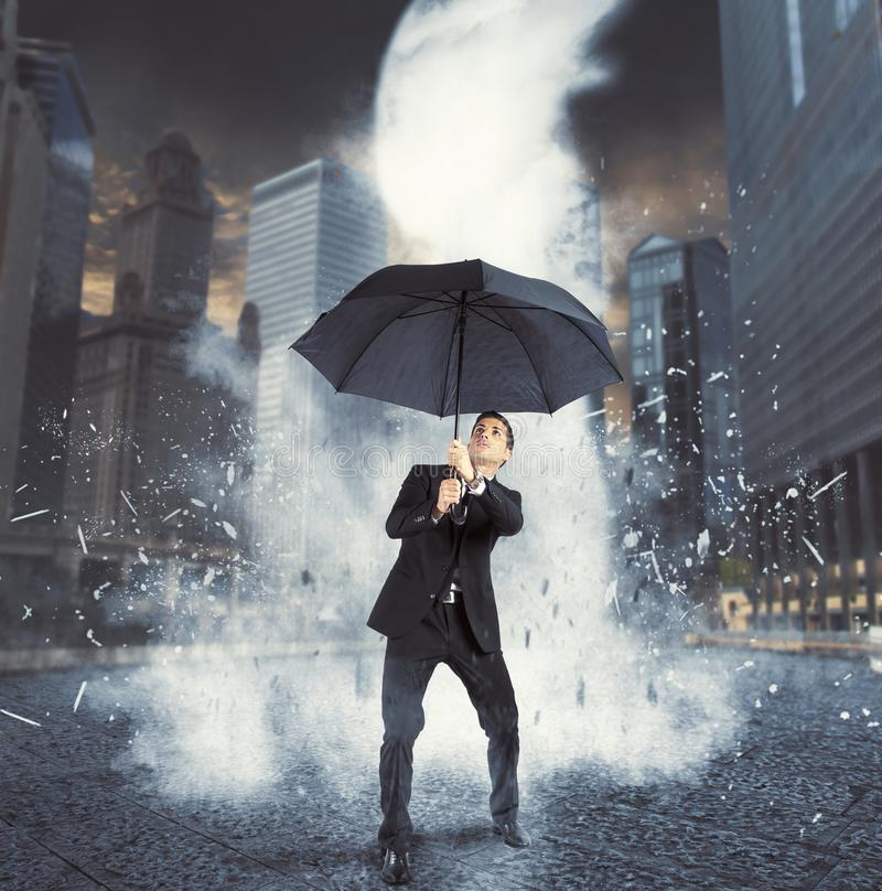 Businessman against ice flow royalty free stock photo