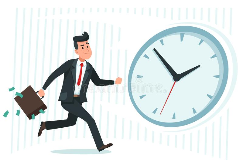 Businessman against time. Busy business worker catching up watch clock, running man and late cartoon vector illustration vector illustration