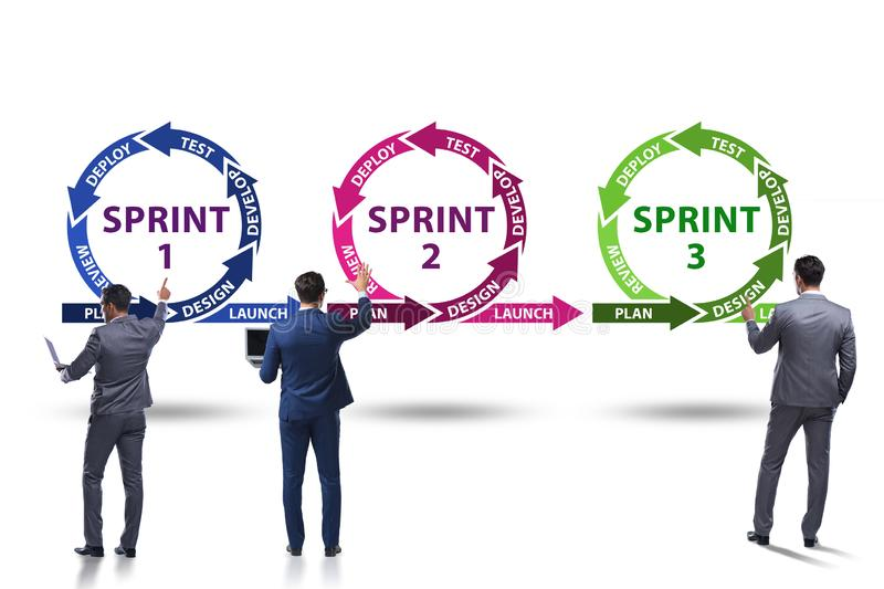 The businessman in agile methods concept royalty free illustration