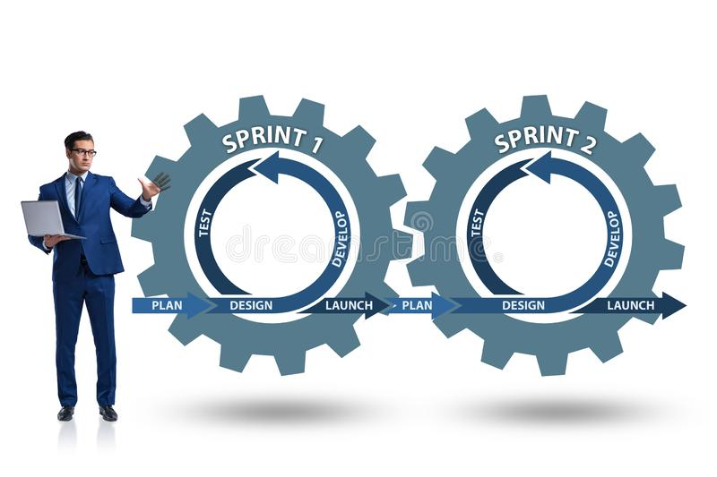 The businessman in agile methods concept stock illustration