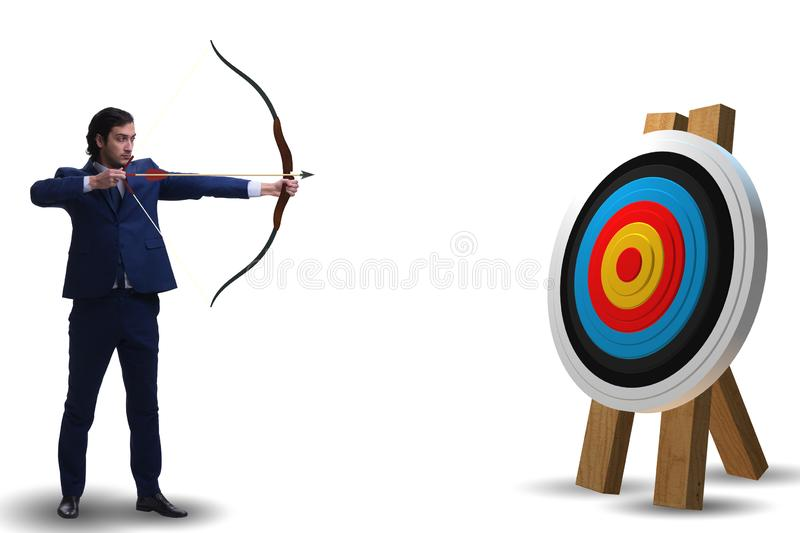 The businessman aiming arrow with bow royalty free stock photography