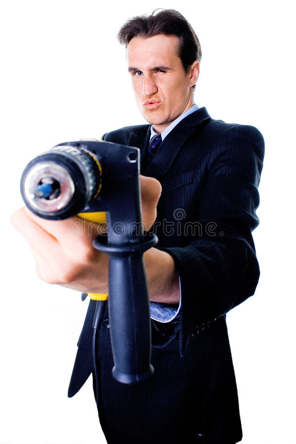 Businessman aiming by drill stock photos