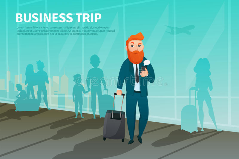 Businessman In Airport Poster royalty free illustration
