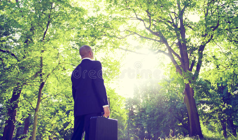 Businessman Alone Nature Relaxation Inspiration Concept stock images
