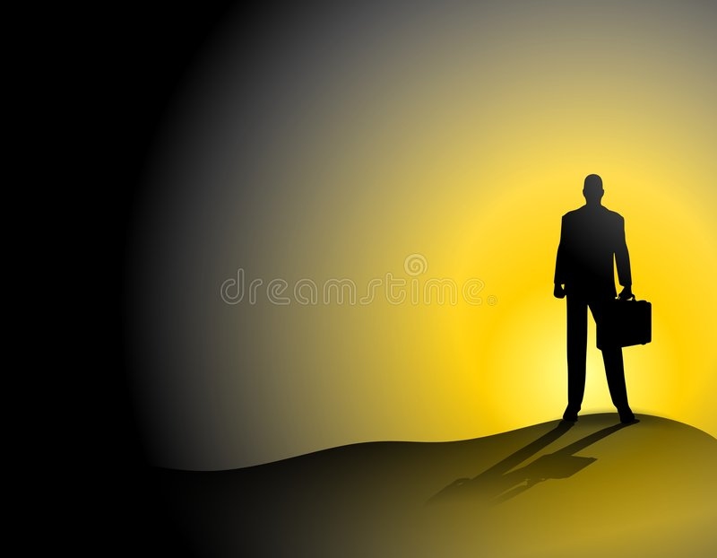 Businessman Alone On Sunset Hill vector illustration
