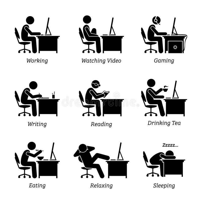 Executive working in front of a computer at office workplace. vector illustration
