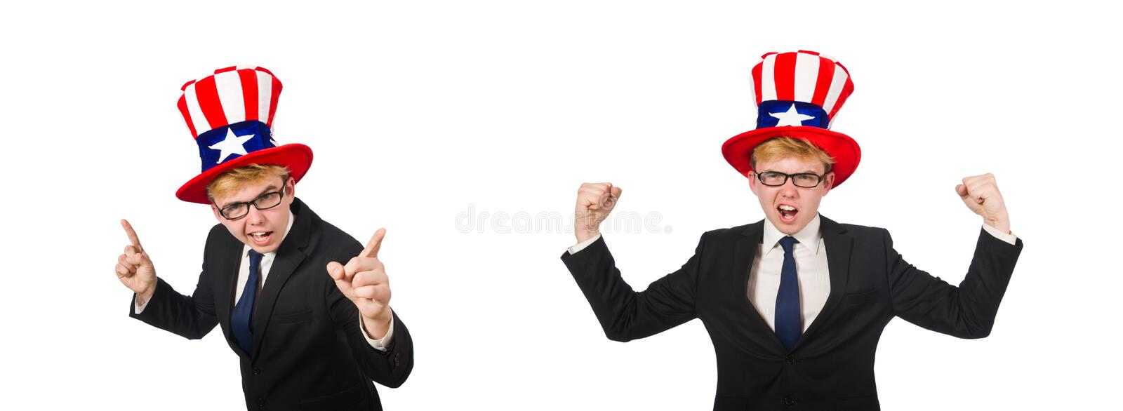 Businessman with american hat isolated on white stock images