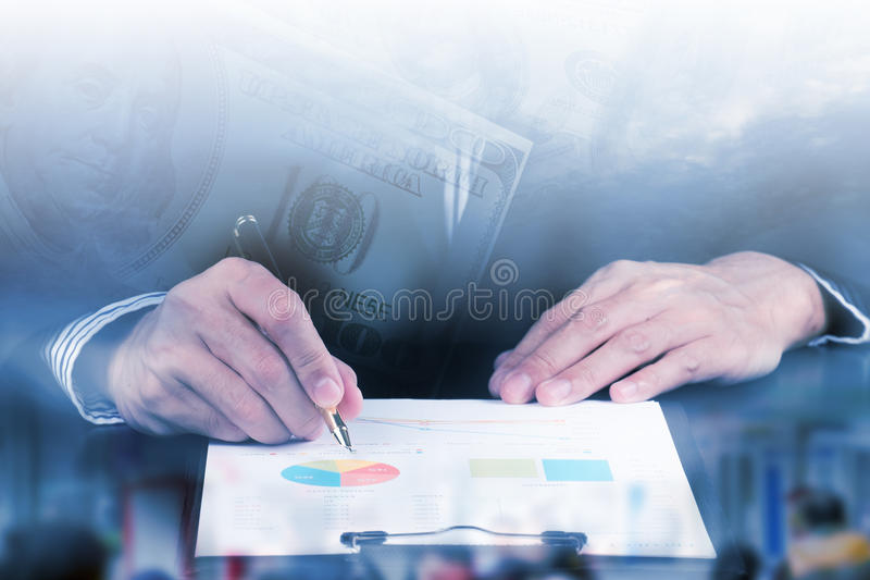 Businessman Analysis Business and financial report. royalty free stock photos