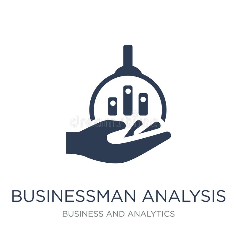 Businessman analysis icon. Trendy flat vector Businessman analysis icon on white background from Business and analytics collection stock illustration