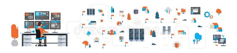 Businessman analytic monitor graph over data network flowchart server map isometric cloud storage synchronization royalty free illustration