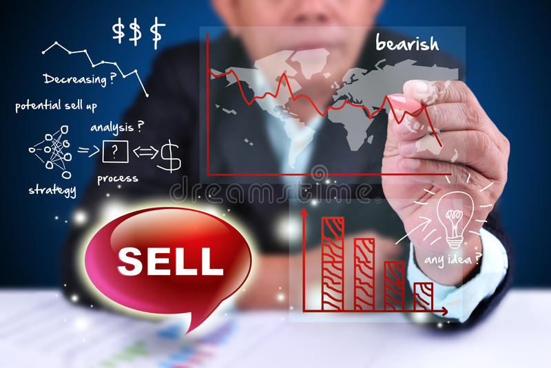Businessman analyze trading sell. With mapping cost design stock illustration