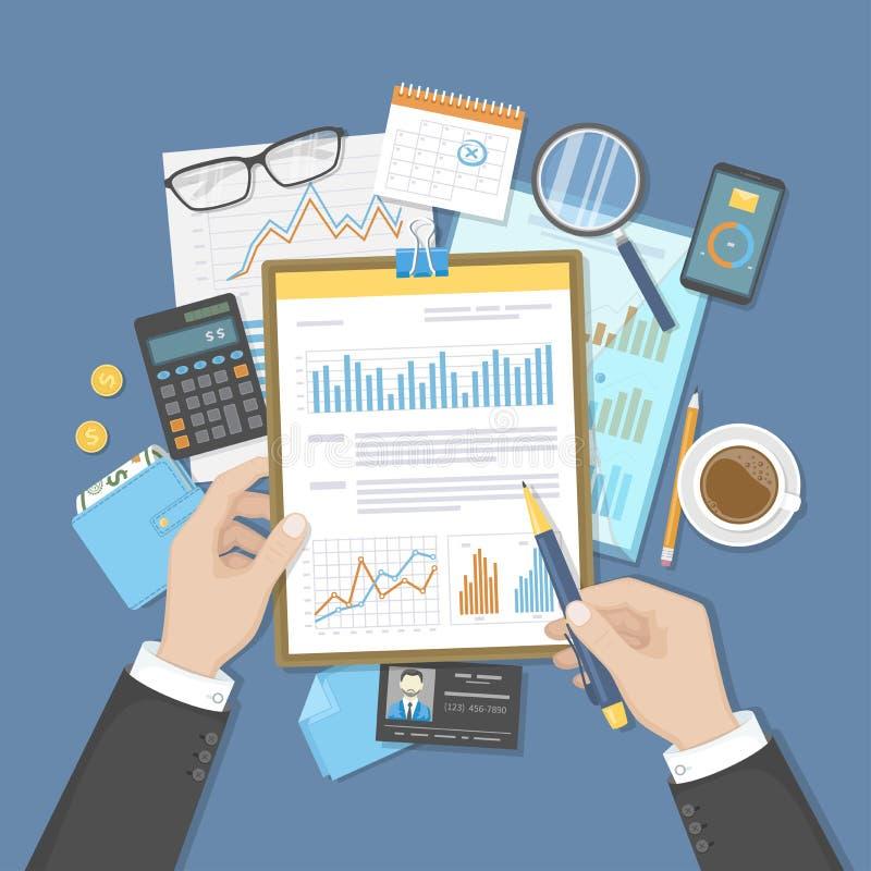 Businessman analyzes documents on clipboard. Auditing, accounting, analysis, analytics. Hands, calculator calendar folder money vector illustration