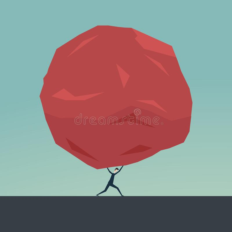 Free Businessman And Huge Stone . Business Problem Crisis Hardship And Burden Concept Stock Photo - 182465260