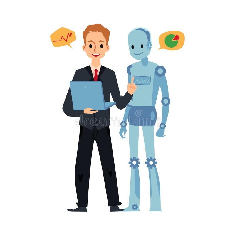 Businessman and android robot looking at laptop talking about graph charts. vector illustration