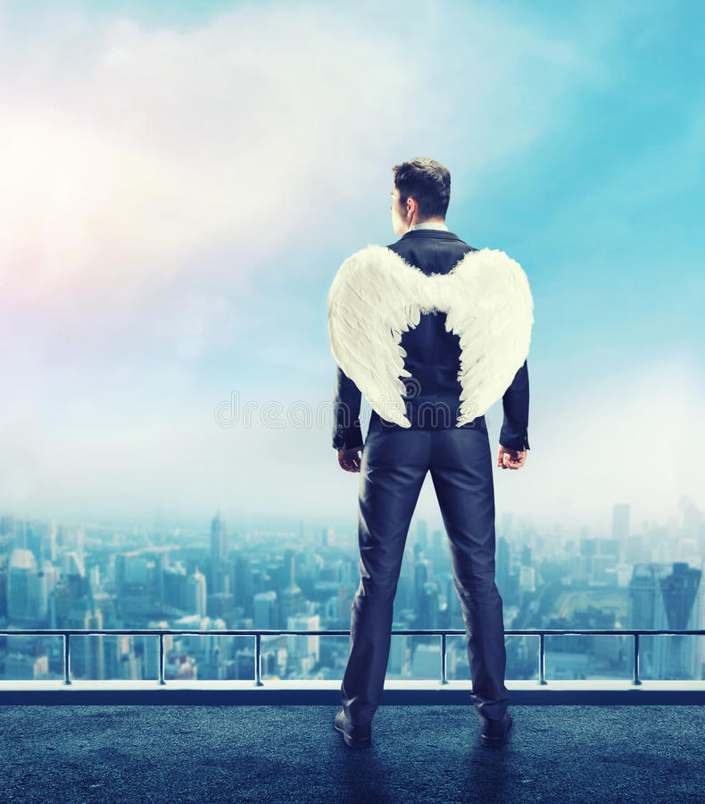 Businessman-angel stock image