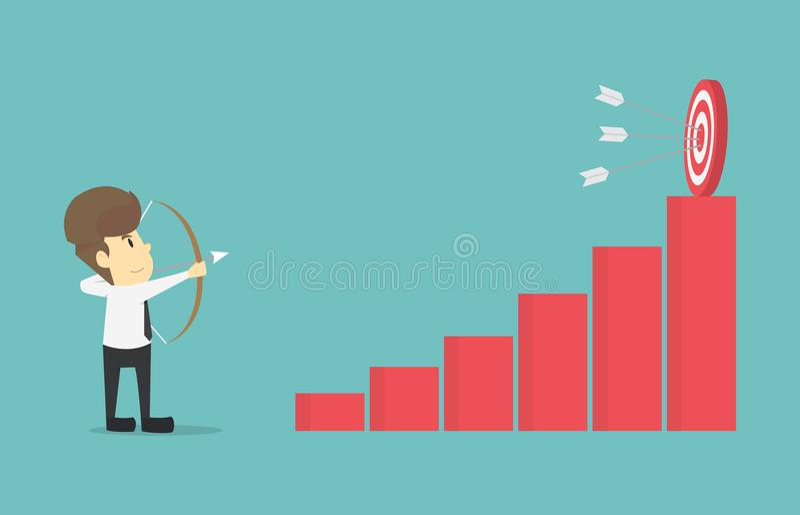 Businessman archery goal the increased.Cartoon of business vector illustration