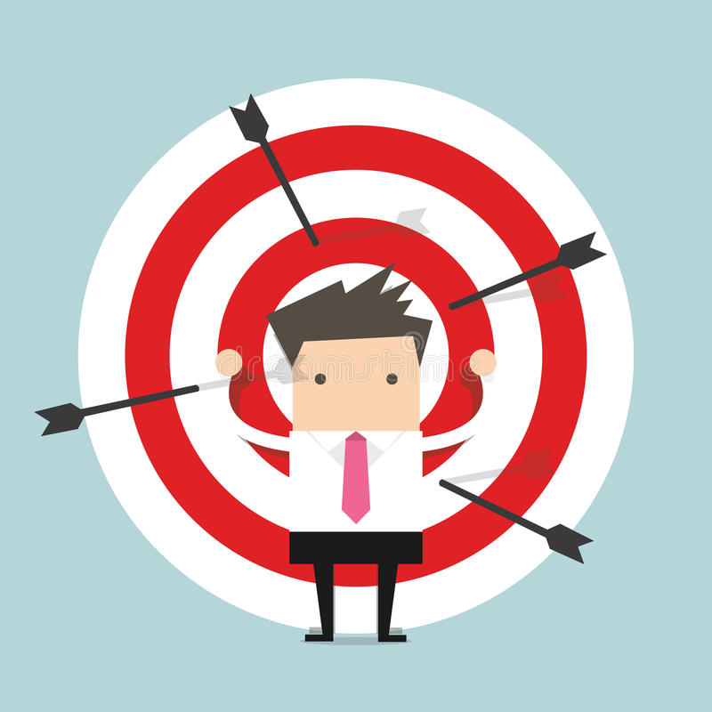 Businessman on archery targets royalty free illustration