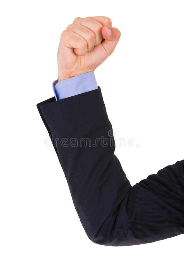Businessman Arm With Clenched Fist. Royalty Free Stock Image